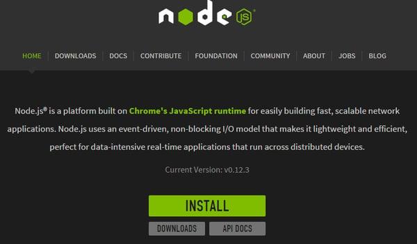 Node js homepage
