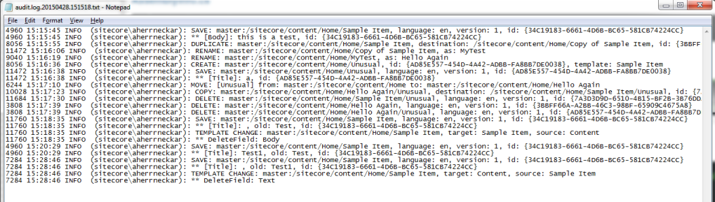 Sitecore audit log file